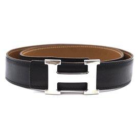 Hermès-Hermes 32mm Silver H Reversible Leather Size 85 belt-Black