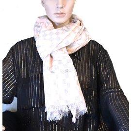 Louis Vuitton-Louis Vuitton Pink Damier Azur Tahitienne Cotton Scarf/Wrap-Pink