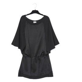 Chanel-BLACK SATIN TUNIC FR44-Black