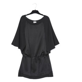 Chanel-BLACK SATIN TUNIQUE FR44-Noir