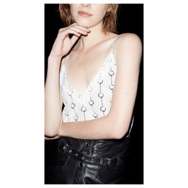 The Kooples-handcuffs on silk and lace-Blanc