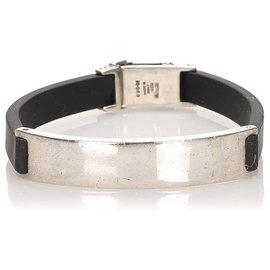 Gucci-Gucci Black Leather Bracelet-Black,Silvery