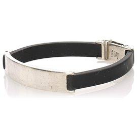 Gucci-Bracelet en cuir noir Gucci-Noir,Argenté