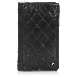 Chanel-Chanel Black Surpique Leather Long Wallet-Black