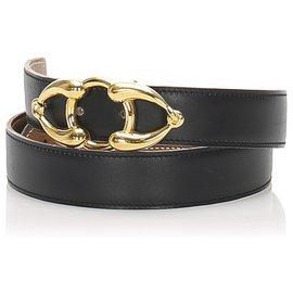 Hermès-Hermes Black Leather Belt-Black,Golden