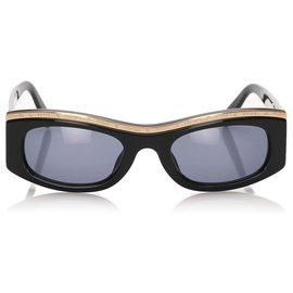 Chanel-Lunettes de soleil teintées rectangulaires Chanel noires-Noir