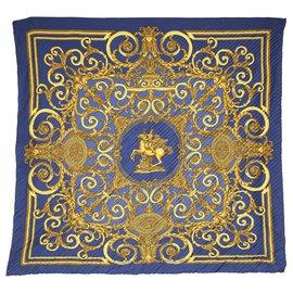 Hermès-Foulard en soie plissé Hermes Blue Les Tuileries-Bleu,Multicolore
