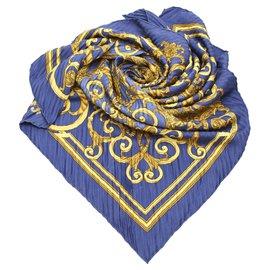 Hermès-Hermes Blue Les Tuileries Plisse Silk Scarf-Blue,Multiple colors