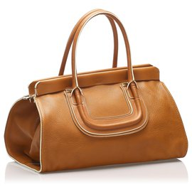 Chloé-Chloe Brown Everston Leather Handbag-Brown