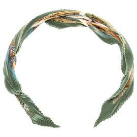 Hermès-Foulard en soie Hermes Green Tanzanie Plisse-Multicolore,Vert,Vert foncé