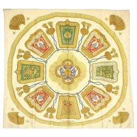 Hermès-Foulard en soie Hermes Poste et Cavalerie marron-Marron,Multicolore,Beige