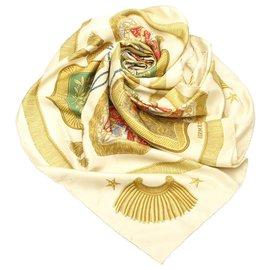 Hermès-Hermes Brown Poste et Cavalerie Silk Scarf-Brown,Multiple colors,Beige