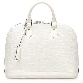 Louis Vuitton-Louis Vuitton White Epi Alma PM-White,Cream