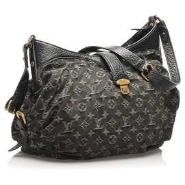 Louis Vuitton-Louis Vuitton Black Monogram Denim Mahina XS-Black