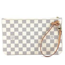 Louis Vuitton-Louis Vuitton Neverfull Pochette XL Damier Azur Canvas-White