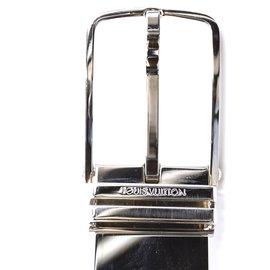 Louis Vuitton-Louis Vuitton Silver Buckle Damier Infini Taille de ceinture en cuir 95/38-Noir