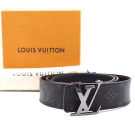 Louis Vuitton-Louis Vuitton Monogram Eclipse Reversible Initials Belt Size 100/40 belt-Black
