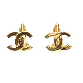 Chanel-Chanel Gold Classic CC Clip On Earrings-Golden