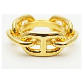 Hermès-HERMES Chaine dAncre Womens scarf ring gold-Golden
