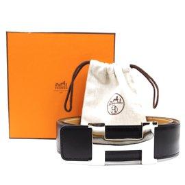 Hermès-Hermes 42mm Silver H Reversible Leather Belt Size 90-Black