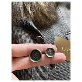 Gucci-Gucci jacket in tweed and wolf collar-Brown