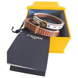 Fendi-Bracelet Daisy / calf + gold metal-White