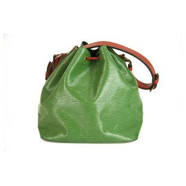Louis Vuitton-LOUIS VUITTON Epi Petit Noe Bicolor Green Red handbag Bucket bag M44147-Red,Green