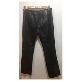 Guess-Pantalon en cuir zippé-Noir