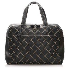 Chanel-Chanel Black Surpique Leather Handbag-Black