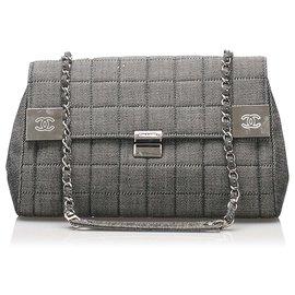Chanel-Chanel Gray Choco Bar Denim Flap Bag-Silvery,Grey