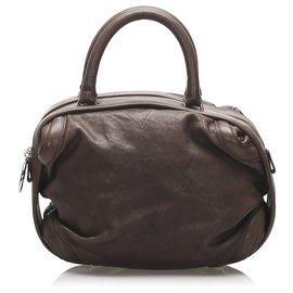 Chanel-Chanel Brown Wild Stitch Lambskin Leather Handbag-Brown,Dark brown