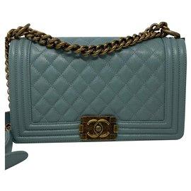 Chanel-CHANEL BOY Sac bg borsa-Light blue