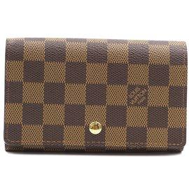 Louis Vuitton-Louis Vuitton Damier Ebene Short Flap Zip Around Wallet-Brown