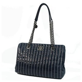 Chanel-CHANEL depth stitch chain shoulder Womens shoulder bag Navy x silver hardware-Navy blue,Silver hardware