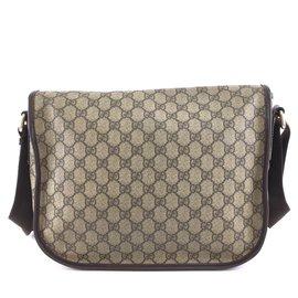 Gucci-Gucci Supreme GG Guccissima Flap Canvas and Leather-Beige