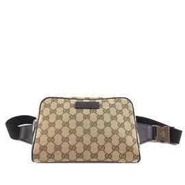 Gucci-Gucci Belt Bum Bag GG Guccissima Brown Canvas-Beige