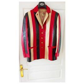 Hermès-Veste Blazer Cuir Hermès-Noir,Rouge,Beige