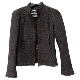 Chanel-Short warm cashmere jacket-Dark grey