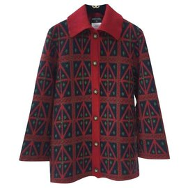 Chanel-Chanel 15A Salzburg Cashmere Red Black Cardigan Jacket-Multiple colors