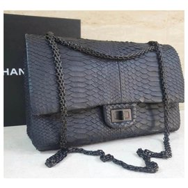 Chanel-Chanel Chanel Anthracite Python 2.55 Reissue lined Flap Shoulder Bag-Dark grey