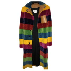 Loewe-2017 season Loewe Lampskin and fur coat. multiple coloured.-Multiple colors