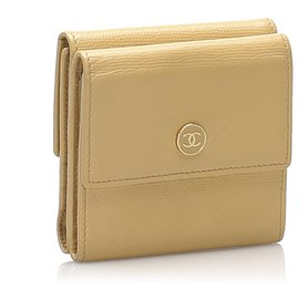 Chanel-Chanel Brown Leather Small Wallet-Brown,Beige