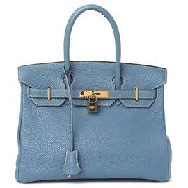 Hermès-HERMES BIRKIN 30 Blue Jean Taurillon Clemence Leather Bag-Light blue