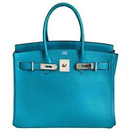 Hermès-HERMES BIRKIN 30 Turquesa Chevre PHW-Azul