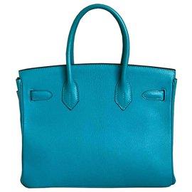 Hermès-HERMES BIRKIN 30 Chèvre turquoise PHW-Bleu