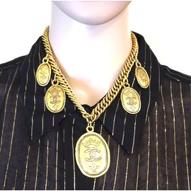 Chanel-Chanel Gold 6 Medallion Motifs Crown CC Charms Necklace-Golden