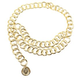 Chanel-Chanel Gold CC lined Chain Medallion Chain Belt/ Necklace-Golden