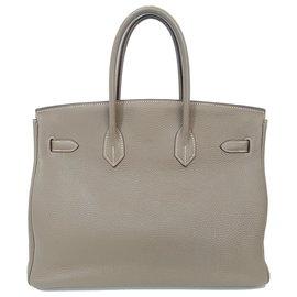 Hermès-HERMES BIRKIN 35 Etoupe Togo Leather Bag PHW-Grey