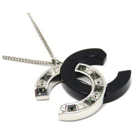 Chanel-Chanel Silver CC Rhinestone Pendant Necklace-Black,Silvery