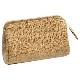 Chanel-Chanel Brown CC Caviar Leather Pouch-Brown,Beige